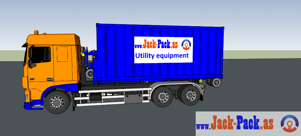 Shipping container on hook loader truck